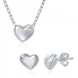 Sterling Silver Small Heart Necklace & Earring Set