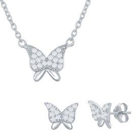 Sterling Silver Butterfly Necklace & Earrings Set