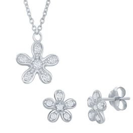 Sterling Silver CZ Flower Necklace & Earring Set