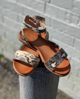 Watch You Go Sandals - Beige Croc
