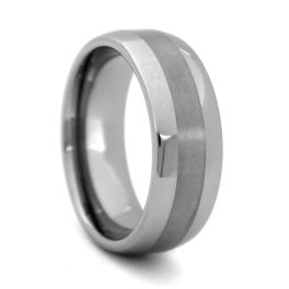 Men's Comfort Fit Domed Tungsten Wedding Band - 8MM