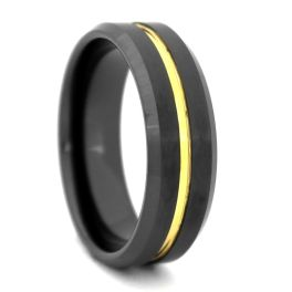 Men's Comfort Fit Black High-Tech Ceramic Wedding Band With Gold Center - 8MM