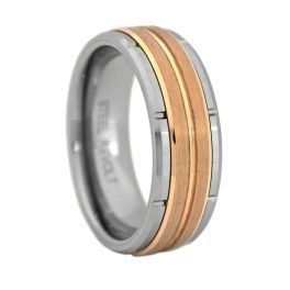 Men's Comfort Fit Tungsten Carbide Wedding Band With Rose Gold Center - 8MM