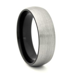 Men's Comfort Fit Domed Tungsten Carbide Wedding Band - 8MM