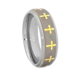 Men's Comfort Fit Cross Wedding Band - 8MM