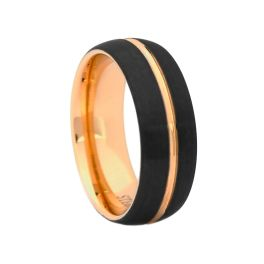 Men's Comfort Fit Black Tungsten Carbide Wedding Band with Rose Center - 8MM