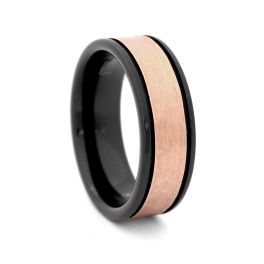 Men's Black Tungsten Carbide Wedding Band With Hammered Center - 8MM