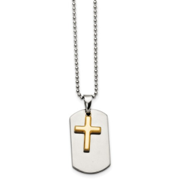 Stainless Steel Brushed Cross Necklace