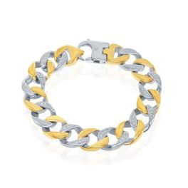 Men's Stainless Steel Two-Tone Curb Bracelet
