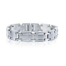 Men's Stainless Steel Matte & Polished Link Bracelet