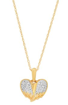 Ladies 10K Yellow Gold Diamond Angel Wings Necklace - 18""