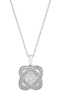 Ladies 10K White Gold Diamond Double Heart Necklace - 1/4CT