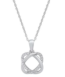 Ladies 10K White Gold Diamond Heart Necklace - 1/10CT