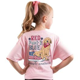 Simply Southern Red Paws & Blue T-Shirt - YOUTH